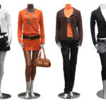collection of fashion outfits on mannequin isolated